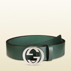 Gucci Interlocking G Belt Green Silver 100/40